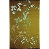 b.b.begonia Fernando Floral Outdoor/ RV/ Camping Blue/ Green Reversible Patio Mat (8' x 20') - 8' x 20'
