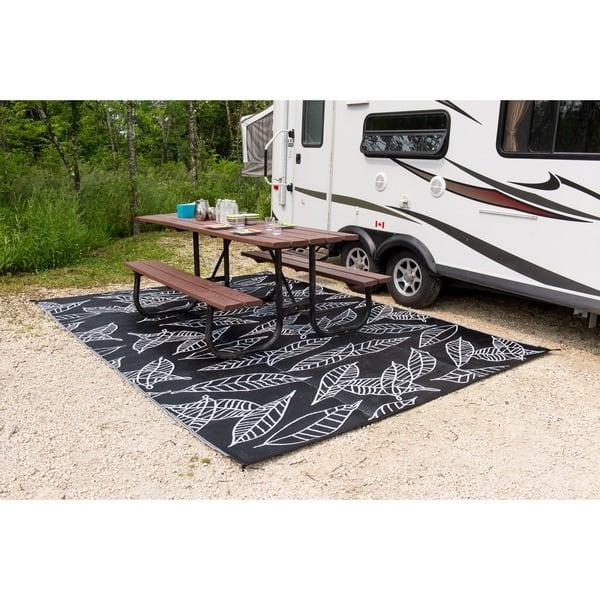 Rv Camping Patio Mat Arctic Black