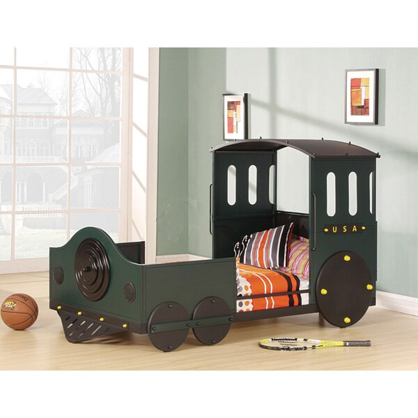 Shop Tobi Green And Black Youth Train Bed Free Shipping