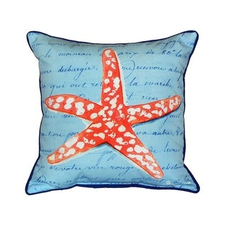 Coral Starfish Blue 18-inch Indoor/Outdoor Pillow