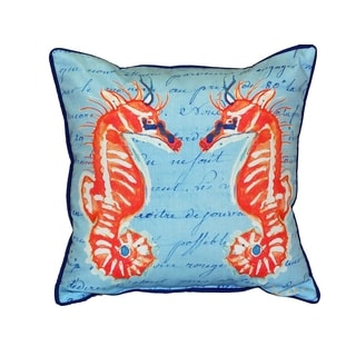 Coral Sea Horses  Blue 18-inch Indoor/Outdoor Pillow