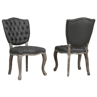Amelia Grey Leather Weathered Oak Dining Chair (Set of 2)