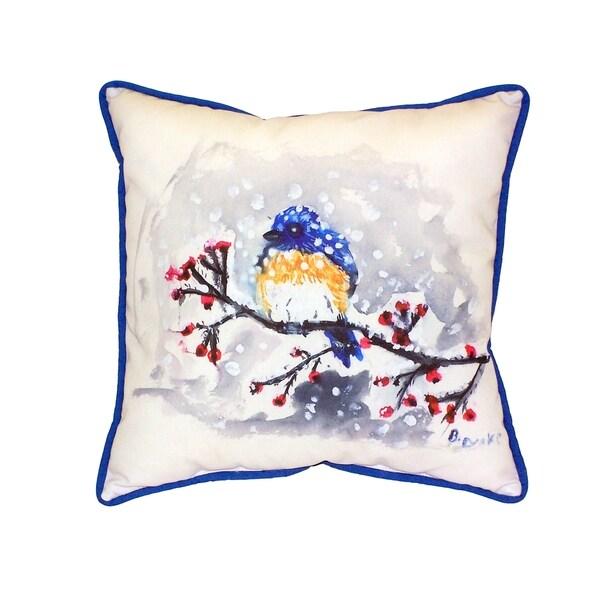 Blue Bird & Snow 18-inch Indoor/Outdoor Pillow