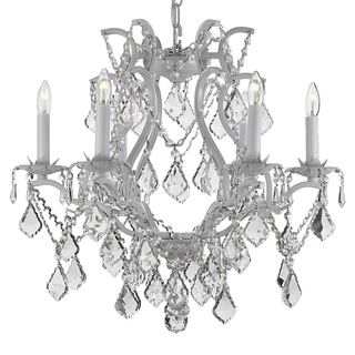 Gallery Versailles Wrought Iron and Crystal Swag Plug-in 6-light White Chandelier