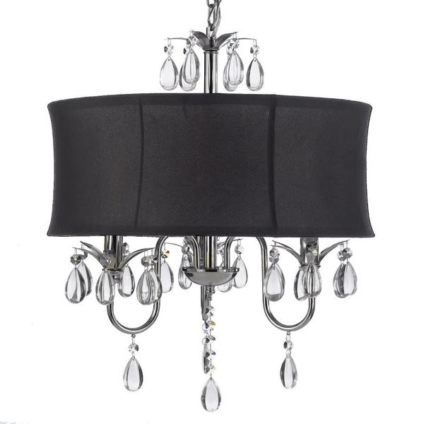 gallery crystal swag plugin 3light chandelier with large black drum shade
