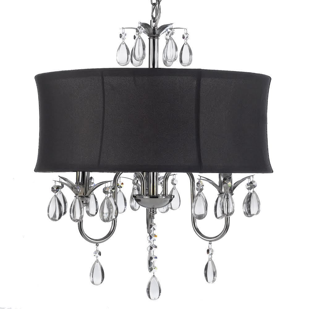 Gallery Crystal Swag Plug-in 3-light Chandelier with Larg...