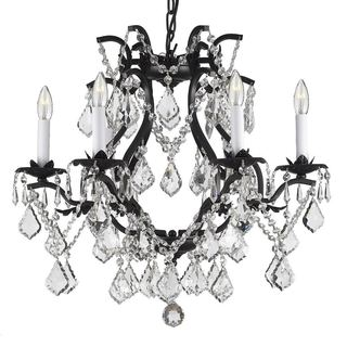 Gallery Versailles Wrought Iron and Crystal Swag Plug-in 6-light Chandelier