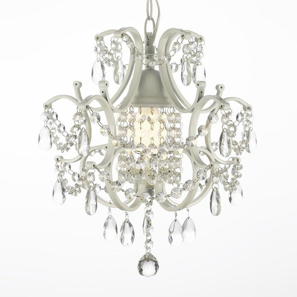 versailles wrought iron and crystal swag plugin white mini chandelier