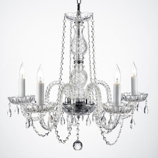 Gallery Venetian Style All Crystal Swag Plug In 5 Light