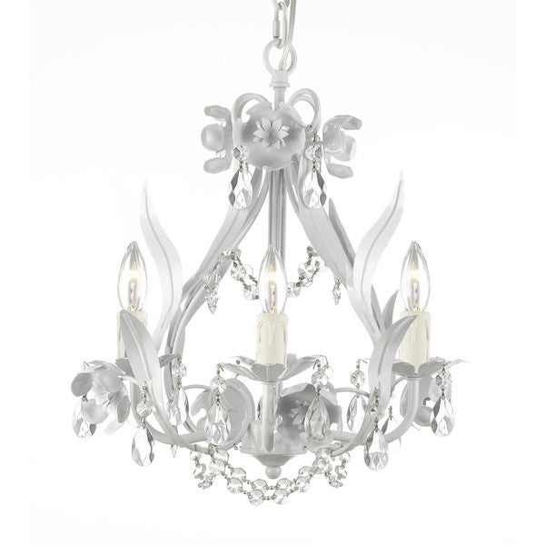 Shop gallery floral wrought iron and crystal white swag plug in 4 gallery floral wrought iron and crystal white swag plug in 4 light mini chandelier aloadofball Gallery