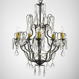 Gallery Versailles Wrought Iron and Crystal Swag Light Plug-in 5-light Chandelier
