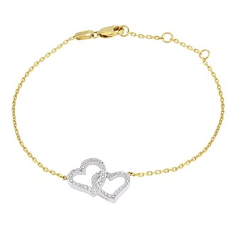 Beverly Hills Charm 10k Gold 1/5ct TDW Interwined Hearts Diamond Adjustable Bracelet (H-I, I2-I3)