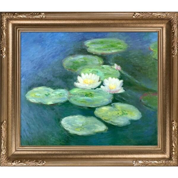 Claude Monet Water Lilies, Evening Hand Painted Framed Canvas Art