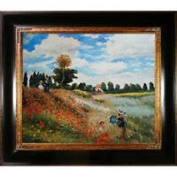 Claude Monet Poppy Field in Argenteuil Hand Painted Framed Canvas Art