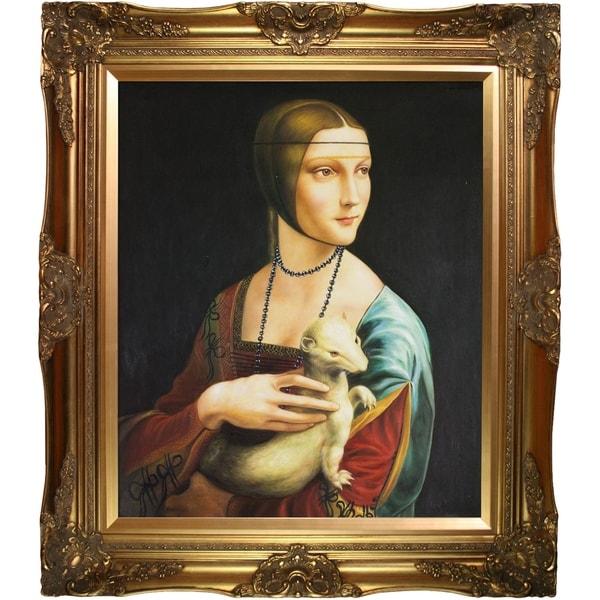 Leonardo Da Vinci Lady with an Ermine Hand Painted Framed Canvas Art. Opens flyout.