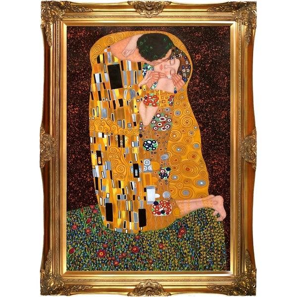 Gustav Klimt The Kiss (Full view) Hand Painted Framed Canvas Art