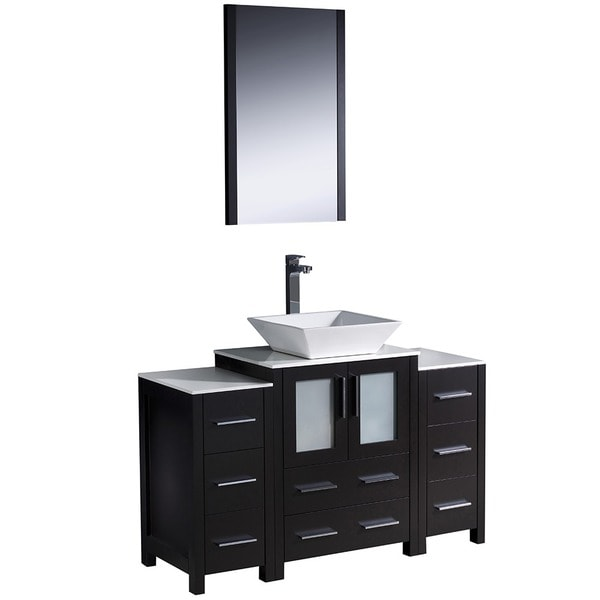 Shop fresca torino 48 inch espresso modern bathroom vanity with side cabinets and vessel sink for 48 inch bathroom vanity light