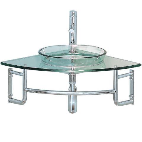 Fresca Ordinato Corner Mount Modern Glass Bathroom Vanity