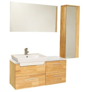 Fresca Caro Natural Wood Modern Bathroom Vanity with Mirrored Side Cabinet