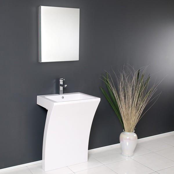 Fresca Quadro White Pedestal Sink W Medicine Cabinet Modern Bathroom Vanity