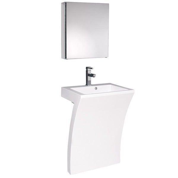 Fresca Quadro White Pedestal Sink w/ Medicine Cabinet - Modern ...