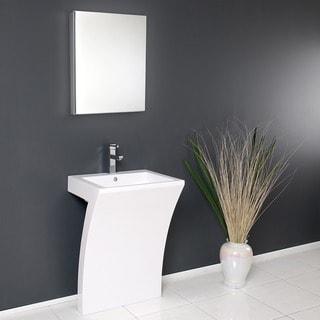 Fresca Quadro White Pedestal Sink w/ Medicine Cabinet - Modern Bathroom Vanity