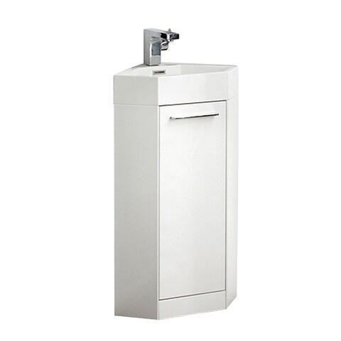 Fresca Coda 14-inch White Modern Corner Bathroom Vanity