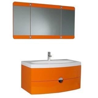 Fresca Energia Orange Modern Bathroom Vanity w/ Three Panel Folding Mirror (Option: Orange)