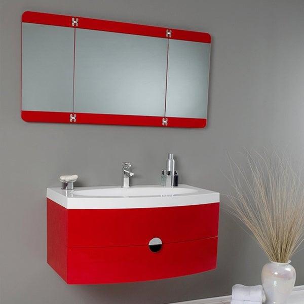 Shop Fresca Energia Red Modern Bathroom Vanity W Three