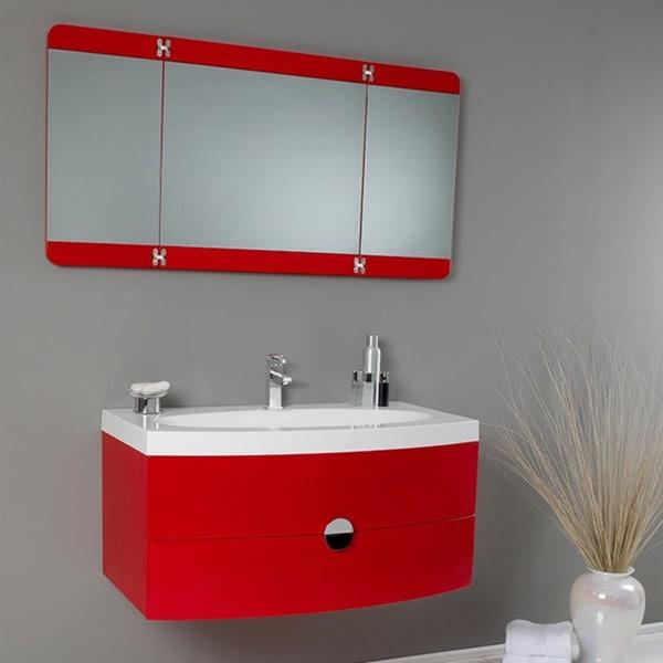 Fresca Energia Red Modern Bathroom Vanity W Three Panel Folding Mirror Fre