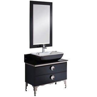 "Fresca Moselle 36"" Modern Glass Bathroom Vanity w/ Mirror"