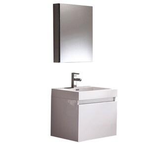 Fresca Nano White Modern Bathroom Vanity w/ Medicine Cabinet