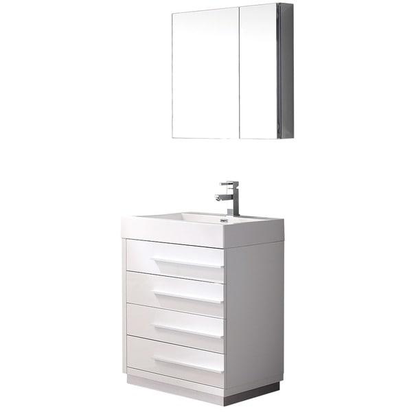 """24 Bathroom Vanity With Medicine Cabinet fresca livello 24"""" white modern bathroom vanity w/ medicine"""