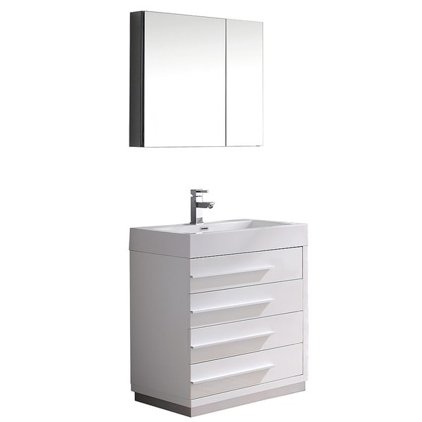 Fresca Livello 30 Inch White Modern Bathroom Vanity Medicine Cabinet Free Shipping Today