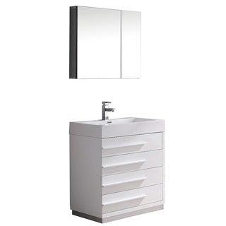 Fresca Livello 30-inch White Modern Bathroom Vanity/ Medicine Cabinet
