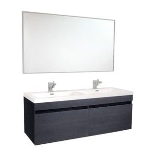 Fresca Largo Black Modern Bathroom Vanity w/ Wavy Double Sinks