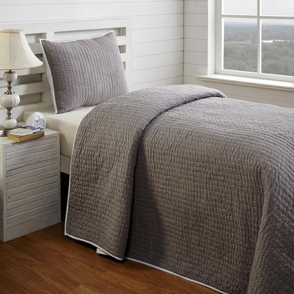 Zachy Grey Twin 2-piece Quilt Set