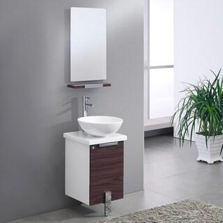 "Fresca Adour 16"" Dark Walnut Modern Bathroom Vanity w/ Mirror"