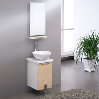 "Fresca Adour 16"" Light Walnut Modern Bathroom Vanity w/ Mirror"