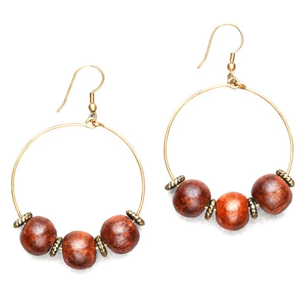 0c2cac29c Shop Handmade Wild Connection Wood Bead Hoop Earring by Mela Artisans  Earrings (India) - Free Shipping On Orders Over $45 - Overstock - 9980854