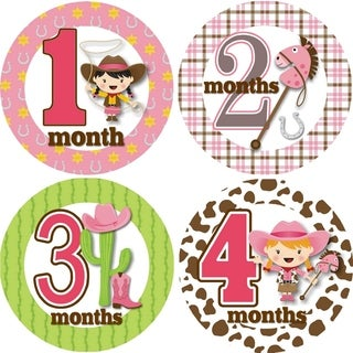 Rocket Bug Ride 'Em Cowgirl Monthly Baby Bodysuit Stickers