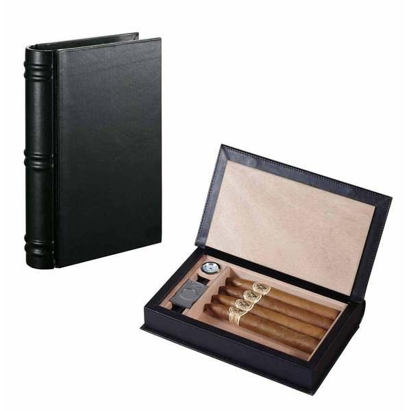 Visol Folio Black Leather Travel/Desktop Humidor Set - Holds 5 Cigars