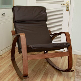 International Caravan Stockholm Contemporary Bentwood Rocking Chair with Faux Leather Seat