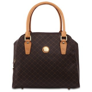 Rioni Signature Brown Squared Bowler Satchel Bag