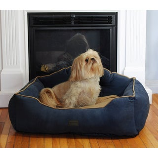 drowzzzy Courtier Crown Embroidered Reversible Micro Velvet Bolster Pet Bed with Tufted Headboard