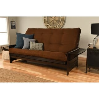 Clay Alder Home Desoto Hardwood Suede Queen Size Futon Sofa Bed With Innerspring Mattress