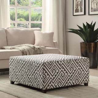 valentina 36inch grey white fabric cocktail ottoman - Grey Ottoman