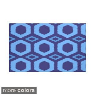 Geometric Print Royal Blue and Blue/ Green/ Rust and Coral/ Purple/ Taupe 50 x 60-inch Throw Blanket