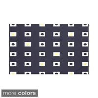 Geometric Print Navy Blue and Yellow/ Green and Blue/ Taupe and Red 50 x 60-inch Throw Blanket