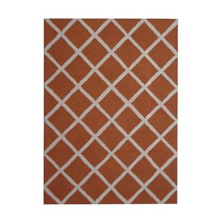 Herat Oriental Indo Hand-tufted Contemporary Rust/ Ivory Wool Rug (5' x 7')